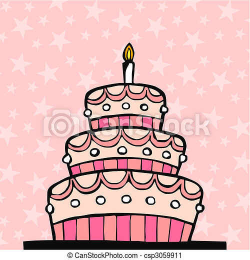 Pink birthday cake on pink background with stars vector clip art