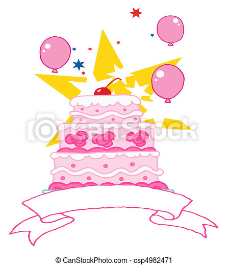 Pink Birthday Cake With A Cherry - csp4982471