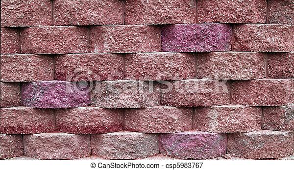 Pink Block Retaining Wall - csp5983767