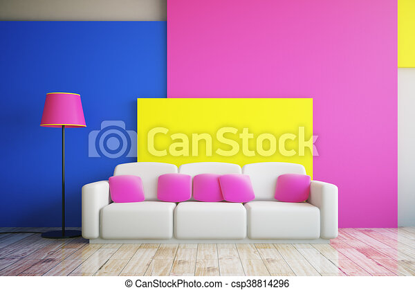 Pink, blue and yellow room. Vibrant pink, blue and yellow living ...