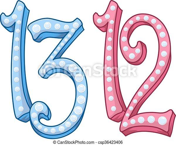 Pink Blue Shiny Number 12 13 For Bar Bat Mitzvah - csp36423406