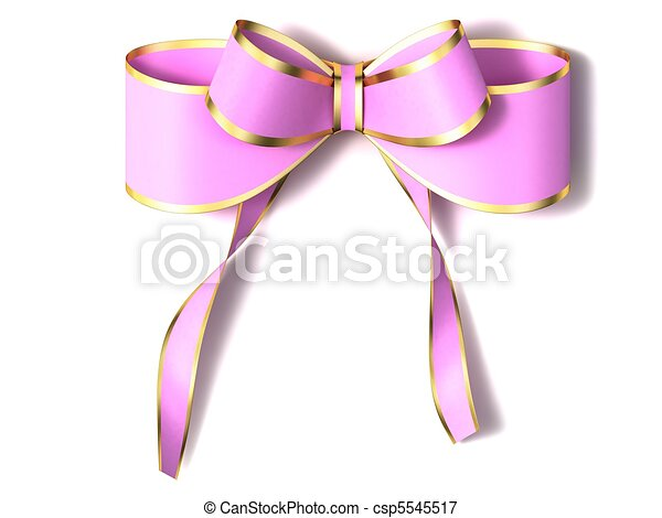 Pink Bow Ribbon With Gold Border On A White Background