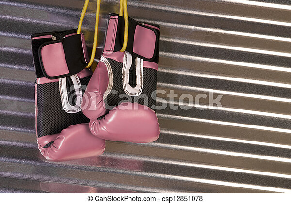 Pink Boxing Gloves Hanging on a Hook - csp12851078