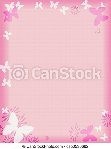 pink butterfly border - csp0536682
