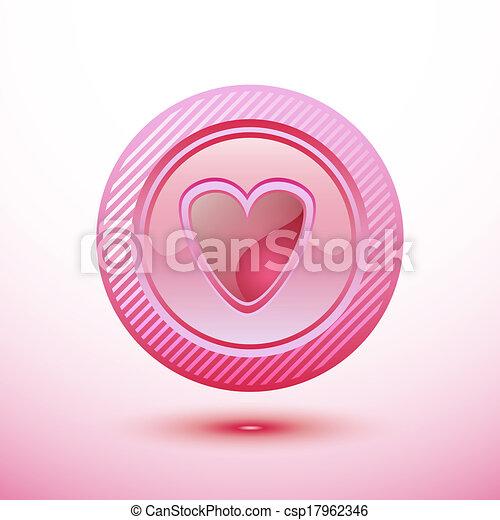 Pink button heart - csp17962346