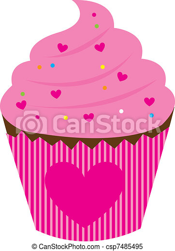 Pink Cake With Hearth Isolated Over White Background Vector