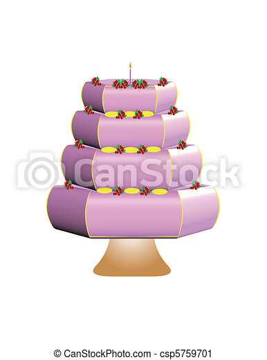pink cake with decorations - csp5759701