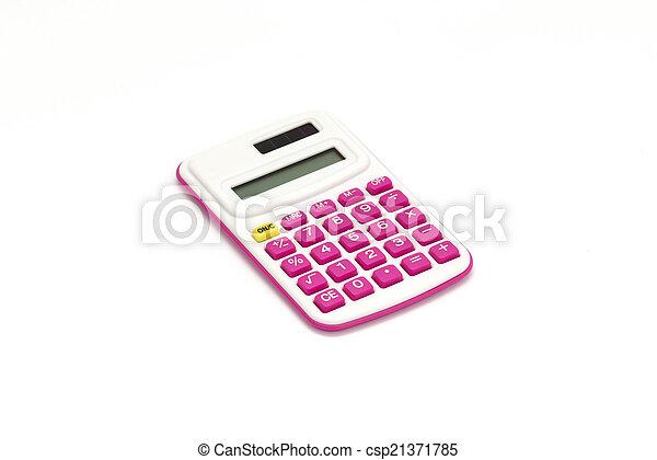 Pink calculator on White Background - csp21371785