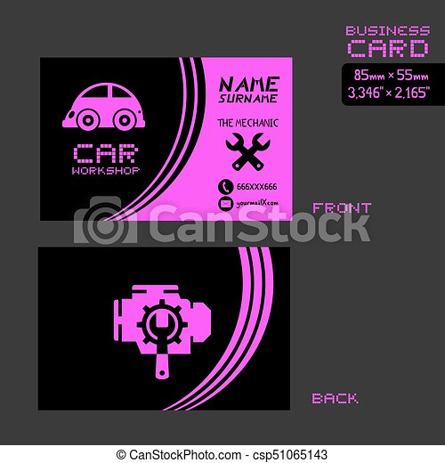 Pink car workshop business card design creative design of eps pink car workshop business card design csp51065143 reheart Image collections