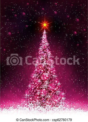 Pink card with shiny Christmas tree and white snowflakes. - csp62760179