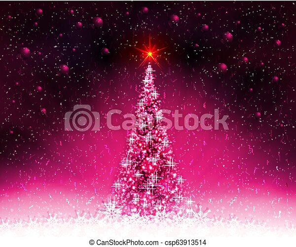 Pink card with shiny Christmas tree, rays of light and Christmas balls. - csp63913514