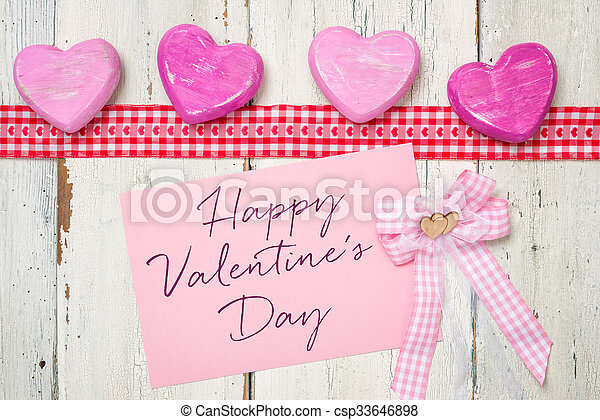 Pink card with the inscription Happy Valentines Day - csp33646898