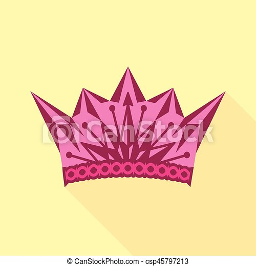 pink crown icon flat style pink crown icon flat vector clip rh canstockphoto co uk pink princess crown clipart pink princess crown clipart