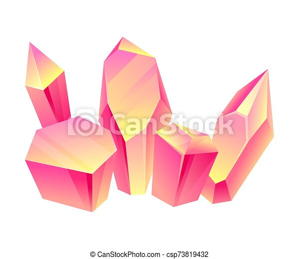 Pink crystals. Vector illustration on a white background. - csp73819432