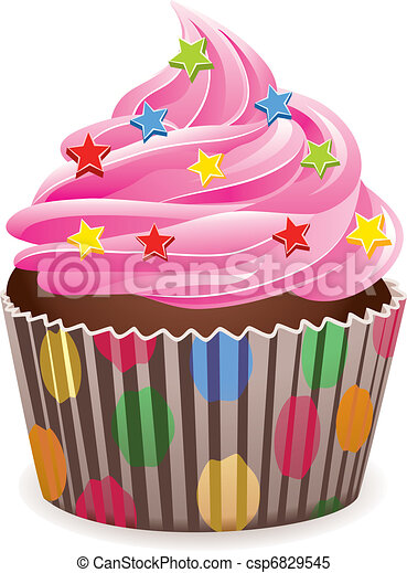 vector pink cupcake with sprinkles rh canstockphoto com cupcake clipart images free free cupcake clipart images