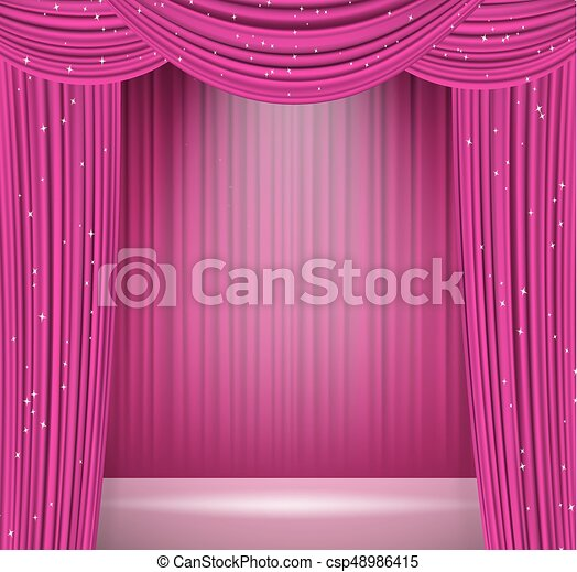 Pink Curtains Background With Spotlight On Stage Opera Cinema Presentation Theater Or Other