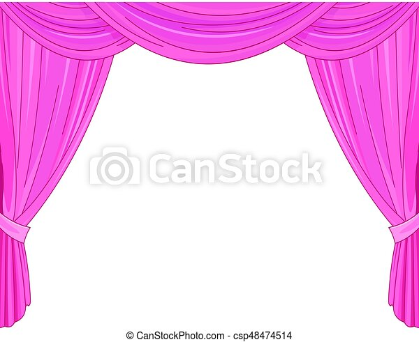 Pink Curtains On A White Background