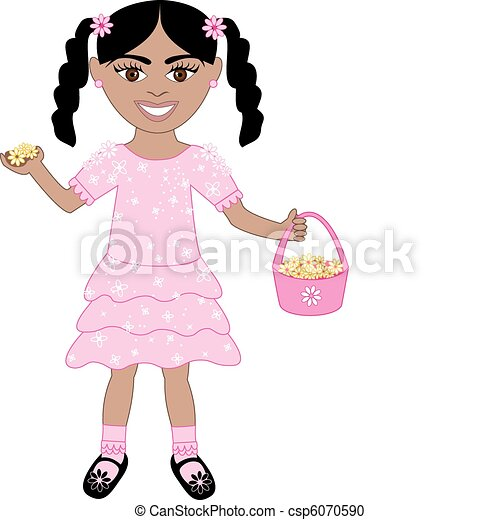 185e4a24c915 Pink dress flower girl. Vector of cute little girl with flowers and ...
