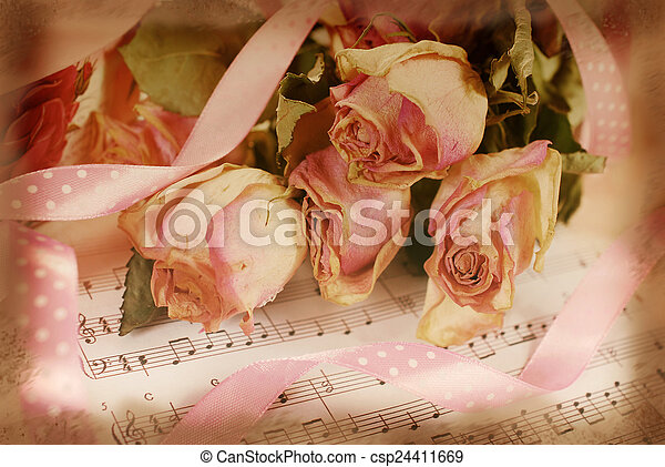Pink dried roses on old note paper in vintage style pink dried pink dried roses on old note paper in vintage style csp24411669 mightylinksfo