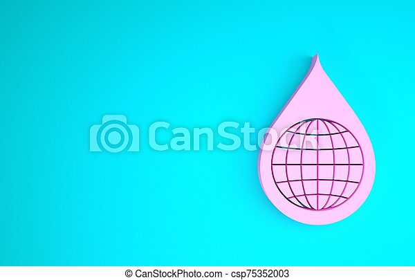 Pink Earth planet in water drop icon isolated on blue background. World globe and water drop. Saving water and world environmental protection. Minimalism concept. 3d illustration 3D render - csp75352003