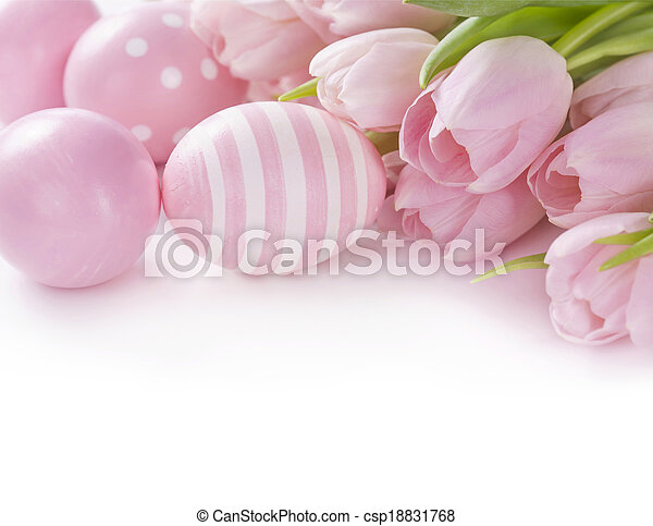 Pink easter eggs and tulips - csp18831768