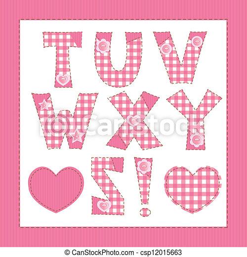 Pink fabric alphabet. Letters T, U, V, W, X, Y, Z - csp12015663