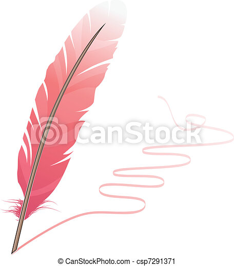 Pink feather and flourish isolated on white background - csp7291371
