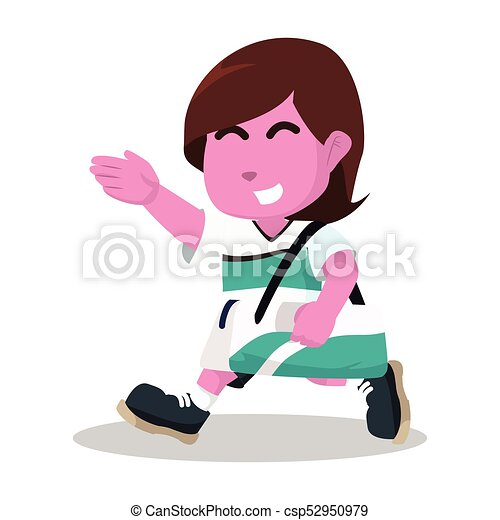 pink female soccer player walk carrying bag vectors illustration rh canstockphoto com soccer player clipart black and white soccer player clip art black and white