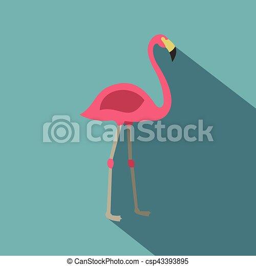 Pink flamingo icon, flat style - csp43393895