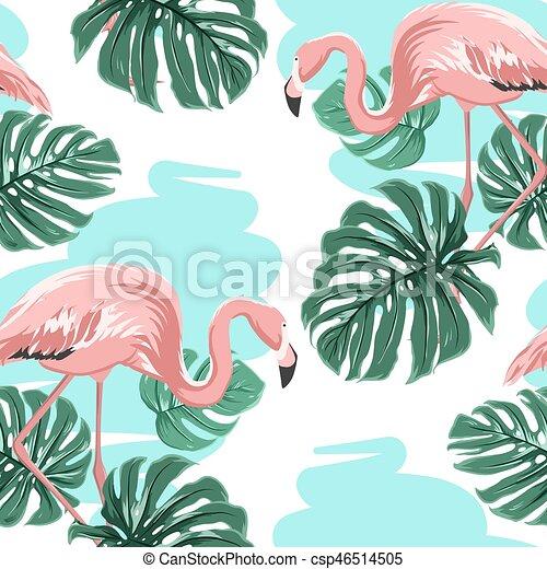 Pink flamingos, blue lake, monstera leaves pattern - csp46514505