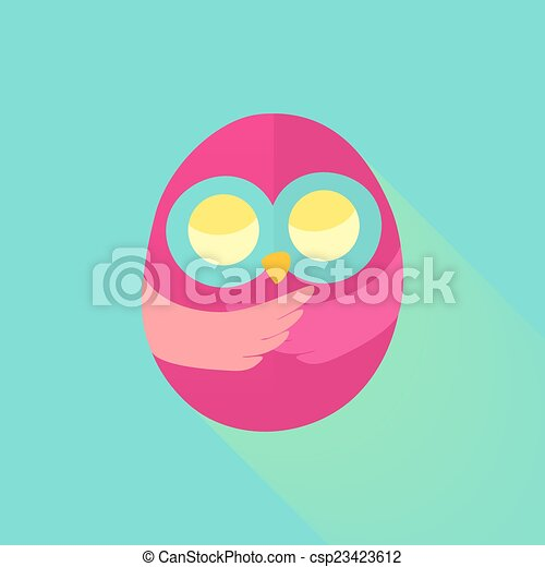 Pink flat owl over mint - csp23423612