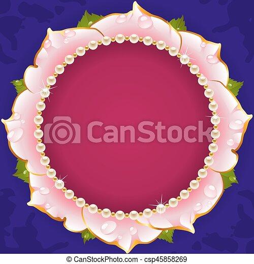 Pink Floral Circle Frame - csp45858269