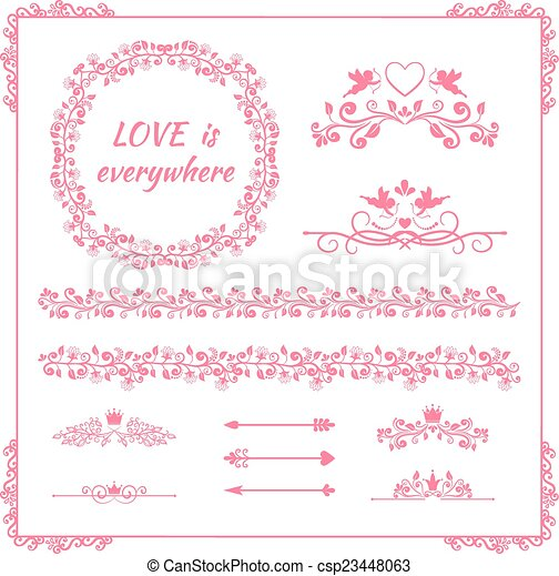 Pink Floral Element For Wedding Or Birthday Pink Floral Frames And