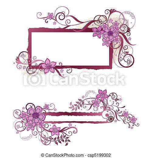 Pink floral frame & banner design - csp5199302