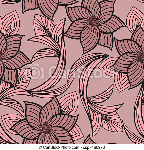 pink floral seamless background - csp7468970