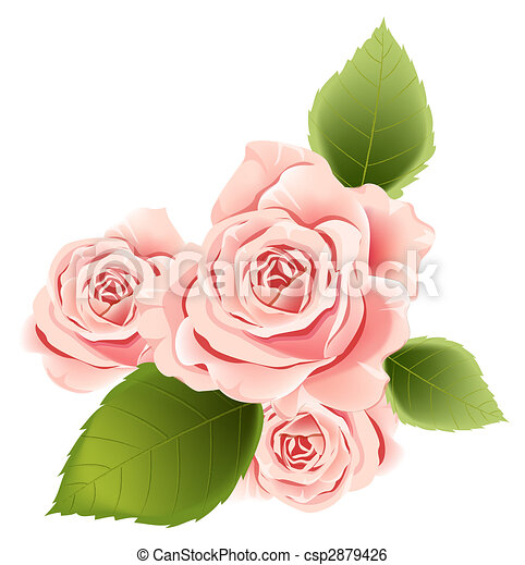Illustration drawing of pink flower and green leaves in a white pink flower csp2879426 mightylinksfo