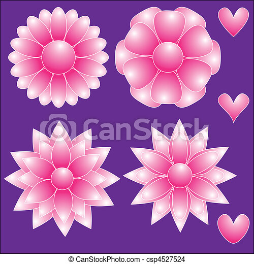 Pink flowers and hearts pink vector flowers and hearts pink flowers and hearts csp4527524 mightylinksfo