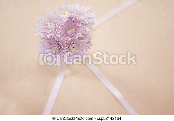 Pink flowers in glass vase on brown paper background focus stock pink flowers in glass vase on brown paper background focus on flower csp52142164 mightylinksfo