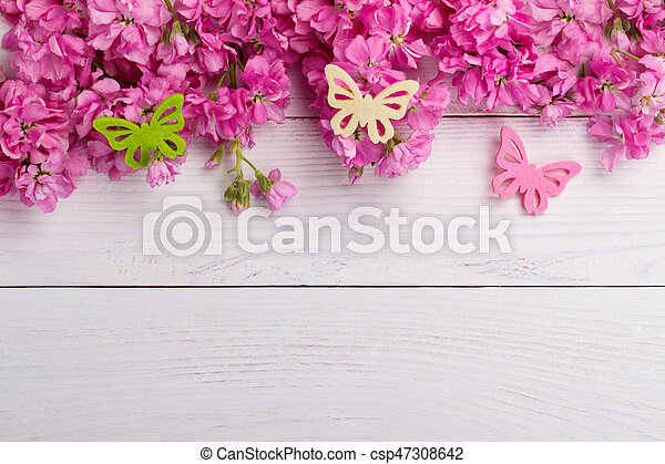 Pink flowers on wooden background fragrant pink stock flowers pink flowers on wooden background csp47308642 mightylinksfo