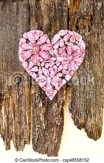 Pink Foil Craft Heart With Flowers On Rustic Wooden Background