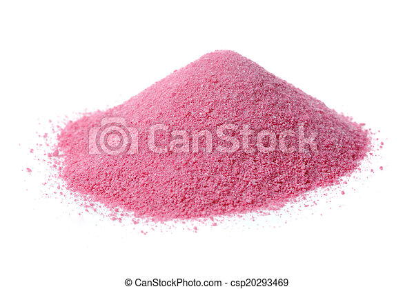 Pink Fruit Juice Powder Concentrate Isolated on White Background - csp20293469