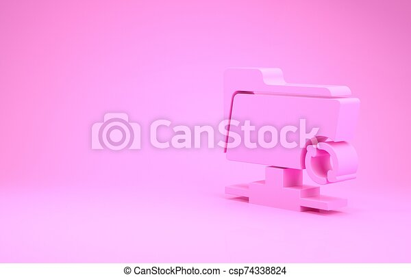 Pink FTP sync refresh icon isolated on pink background. Software update, transfer protocol, router, teamwork tool management, copy process. Minimalism concept. 3d illustration 3D render - csp74338824