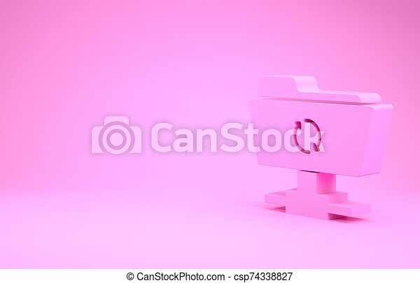 Pink FTP sync refresh icon isolated on pink background. Software update, transfer protocol, router, teamwork tool management, copy process. Minimalism concept. 3d illustration 3D render - csp74338827