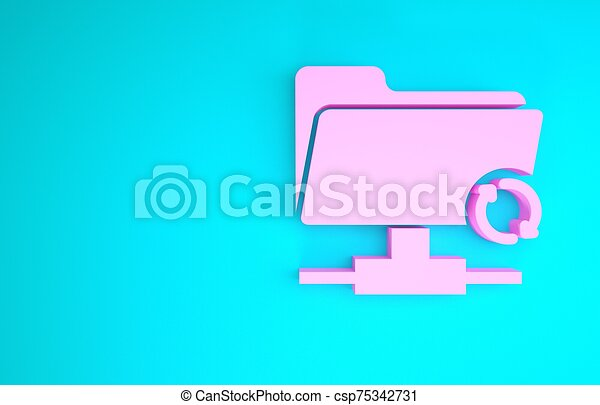 Pink FTP sync refresh icon isolated on blue background. Software update, transfer protocol, router, teamwork tool management, copy process. Minimalism concept. 3d illustration 3D render - csp75342731