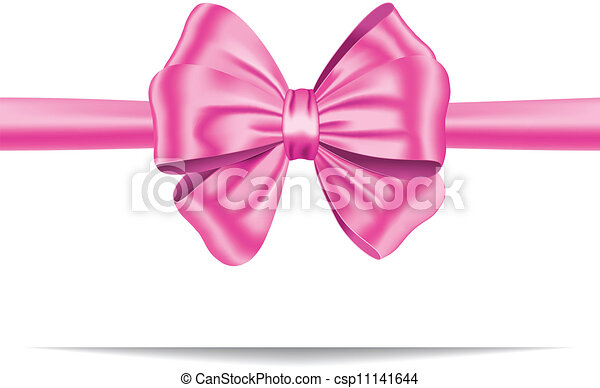Pink gift ribbon with bow - csp11141644
