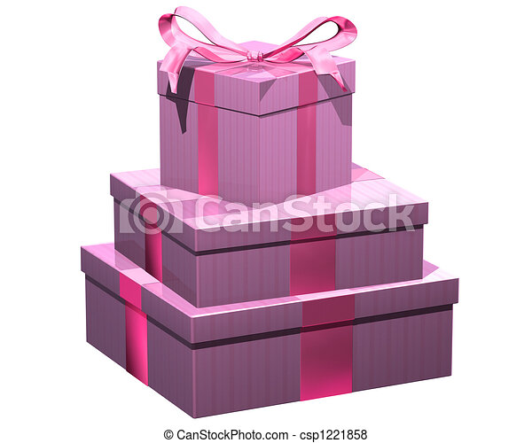 Pink gifts isolated illustration of gift wrapped presents stock pink gifts csp1221858 negle Choice Image