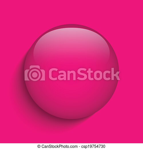 Pink Glass Circle Button Icon - csp19754730