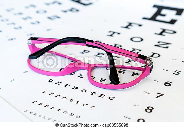 Pink Glasses On A Eye Exam Chart