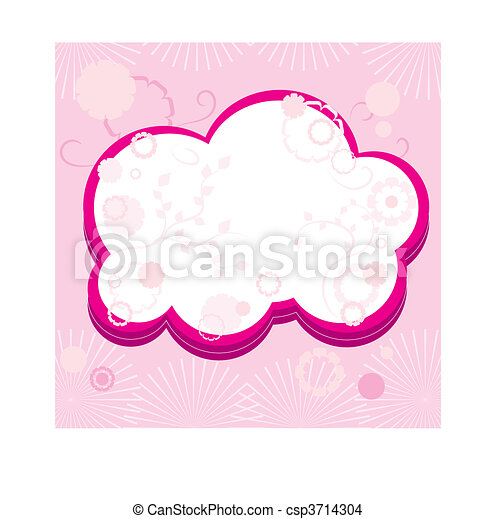 Pink greetings card with flowers, part 15,  vector illustration - csp3714304