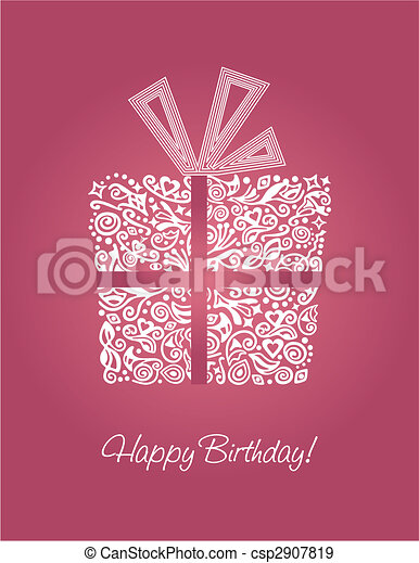 Pink Happy Birthday card - csp2907819